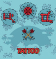 tattoo flat icons set vector image vector image