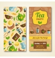 Tea party announcement 2 vertical banners vector image vector image