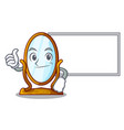 thumbs up with board character big mirror in vector image
