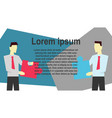 two businessmen join puzzle vector image vector image
