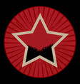 vintage red star with crowd on red border vector image vector image