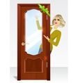 woman behind the door vector image