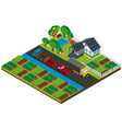 3d design for farmland with house and cars on the vector image vector image