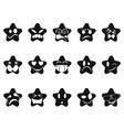 black smileys stars set vector image vector image