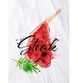 Bone in rib steak watercolor vector image