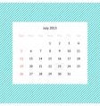 Calendar page for July 2015 vector image vector image