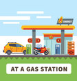 Car and motorcycle at a gas station vector image vector image