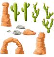 Cartoon beautiful cactus on desert background vector image