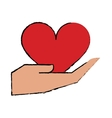 cartoon hand holds heart love vector image