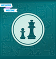 chess icon on a green background with arrows in vector image vector image
