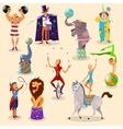 Circus vintage pictograms set arrangement vector image vector image
