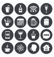Coffee tea icons Alcohol drinks signs vector image vector image
