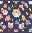 cute seamless pattern with flowers and owls vector image