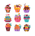 flat set of tasty cupcakes with gradients vector image