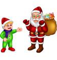 funny santa and boy with gifts cartoon vector image vector image