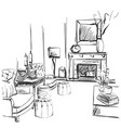 hand drawn room interior sketch chair sofa vector image vector image