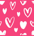 hand drawn seamless pattern with hearts on bright vector image vector image