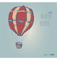 Hand drawn vintage hot air balloon with message vector image