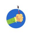 hand holding paintbrush symbol profession vector image