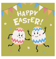 happy easter greeting card colored eggs with cute vector image vector image