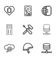 hard icons vector image vector image
