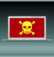 laptop with scull sign on screen vector image