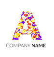 letter a logo with purple yellow red particles vector image