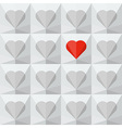 light grey crystal hearts with one different vector image vector image