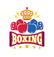logo with two gloves and crown for boxing vector image vector image
