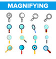 magnifying glass magnifier linear icon set vector image