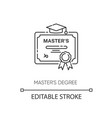 masters degree pixel perfect linear icon vector image vector image