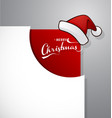 merry christmas greeting in the corner with santa vector image