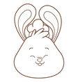 mid autumn rabbit face cartoon in black and white
