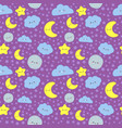 night sky seamless pattern cute moon with sleep vector image vector image