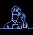 one continuous line chef line icon neon concept vector image