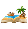 open book with group of pirate on the beach vector image vector image