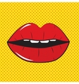 Open Red Lips Pop Art Background vector image