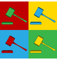 Pop art judge gavel icons vector image