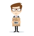 portrait of delivery man isolated on white vector image vector image