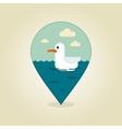 Seagull pin map icon Summer Beach Sun Sea vector image