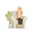 senior woman with a headache - cartoon people vector image