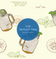 set of iced lemon mint tea seamless pattern vector image vector image