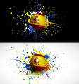spain flag with soccer ball dash on colorful vector image vector image