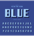 texture font and grunge alphabet blue type vector image
