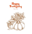 Thanksgiving vegetables harvest retro greeting vector image