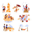 travelers beach mountains and sea voyage vacation vector image vector image