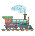 vintage steam locomotive logo design vector image vector image