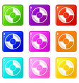 vinyl record icons 9 set vector image vector image