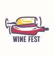 wine fest icon or label with grunge wineglass and vector image