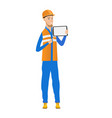 young caucasian builder holding tablet computer vector image vector image